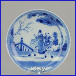 Antique 18th c Kangxi Chinese Porcelain Blue and White Dish with Horses