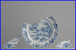 Antique 18th c Sheap Herder Blue White Chinese Porcelain Plate China Qing