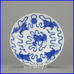 Antique 19C Chinese Porcelain Dish Qilin Blue white porcelain