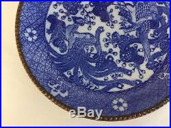 Antique 19thC Meiji Period Igezara Japanese Blue White Charger Plate PHOENIX
