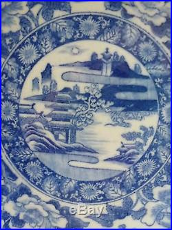 Antique 19thC Meiji Period Igezara Japanese Blue & White Large Charger Plate