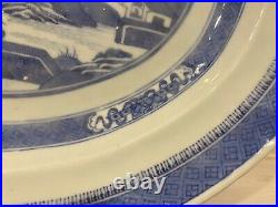 Antique 19th C Canton Chinese Export Blue White Porcelain Platter Signed