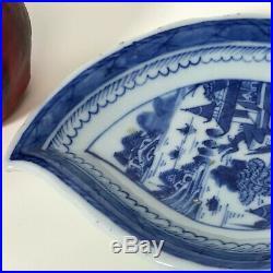 Antique 19th C Chinese Canton Porcelain Blue & White Leaf Shape Dish Plate