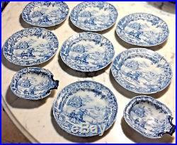 Antique 19th Century Blue White Davenport Transferware Chinoiserie Bread Plates