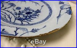 Antique 19th Century Large Delft Wall hanging Charger Plate Blue White Flower