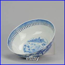 Antique 19th c Chinese Porcelain Blue & White Bowl Qing Kangxi Revival