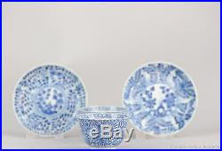 Antique 19th c Chinese Porcelain Blue & White Cup Saucer Figure Kangxi