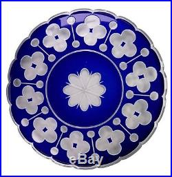 Antique Blue White Overlay Glass Cut to Clear Large 12 3/4 Plate