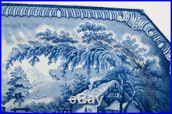 Antique Brameld Rockingham Blue and White Meat Plate The Returning Woodman