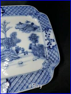 Antique CHINESE Export Blue & White Porcelain 11 x 7.5 Square Plate / tray