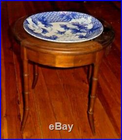 Antique Canton Blue & White Chinese Export Porcelain Charger with Wood Table Stand