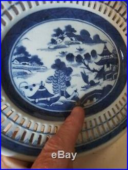 Antique Canton Blue & White Chinese Export Small Reticulated Oval Platter Plate