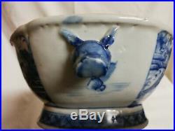 Antique Canton blue white boars head soup terrine