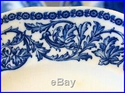 Antique Cauldon England Turkey 12 Dinner Plates Blue White 10 Scalloped Rare
