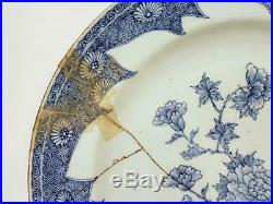 Antique Chinese 1666-1722 Kangxi Blue & White Porcelain Charger Staple Repairs