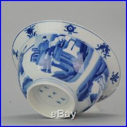 Antique Chinese 18C Kangxi Klapmuts Figures Blue White Dish Rare Chenghua