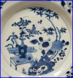 Antique Chinese 19th Century Underglaze BLue and White PLate Scholars Objects