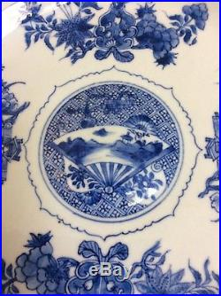 Antique Chinese Blue And White Plate Kangxi Periode, (1662-1722)