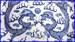 Antique Chinese Blue And White Porcelain Plate Decorated With Dragons