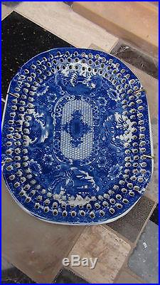 Antique Chinese Blue And White Serving Bowl, Plate, Tray With Pierced Border, Mark