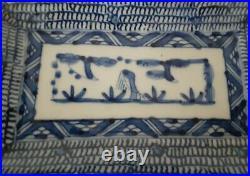Antique Chinese Blue & White Chenghua Ming Rectangular Porcelain Dish/Plate