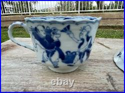 Antique Chinese Blue & White Cup & Causer 19 Century