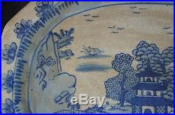 Antique Chinese Blue White Hand Painted Porcelain Platter Pagoda River Scene