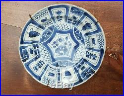 Antique Chinese Blue White Porcelain Wanli Kraak Plate Dish Wall Charger 6.5