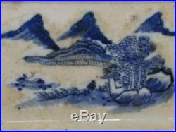 Antique Chinese Blue and White Ceramic Porcelain Tray