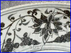 Antique Chinese Blue and White Porcelain Charger Plate Yuan Or Ming Dynasty