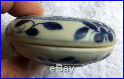 Antique Chinese Blue and White Porcelain Ink Box, Qing Dynasty