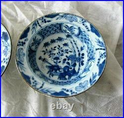 Antique Chinese Blue & white Porcelain Plate Dish Bowl x 2 Kangxi 1662 1722