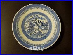Antique Chinese Canton Blue and White Hand Painted Porcelain Plate