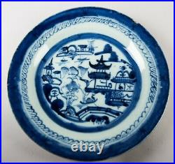 Antique Chinese Canton Export Porcelain Dinner Plates Set of 6 Blue & White