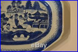 Antique Chinese Canton Porcelain Blue and White Platter, 19th C