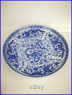 Antique Chinese Ceramic Blue White Large 5 Dragon Bowl/ Plate 1711-1799