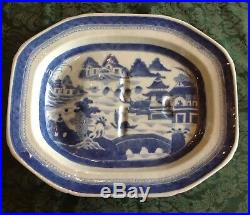 Antique Chinese Export 19th Cent Blue White CANTON Meat Platter Well Tree 15.5W