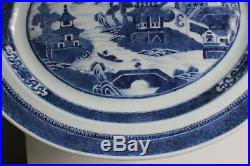 Antique Chinese Export Blue & White Canton Oval Porcelain Tray