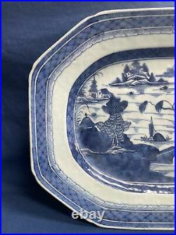 Antique Chinese Export Blue & White Canton Platter 12 3/8 by 9 5/8