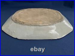 Antique Chinese Export Blue & White Canton Platter 15 3/8 by 12 1/4