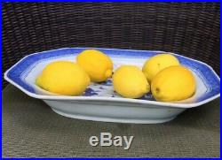 Antique Chinese Export Blue White Canton Porcelain Platter Shallow Bowl