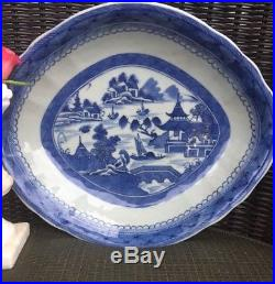 Antique Chinese Export Blue White Porcelain Canton Bowl Dish Small Platter
