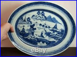 Antique Chinese Export Blue & White Porcelain Canton Oval Platter Charger 16.25