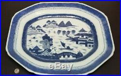 Antique Chinese Export Blue & White Porcelain Canton Platter Charger 15.75 BIG