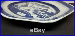 Antique Chinese Export Blue & White Porcelain Canton Platter Plate Charger 14.5