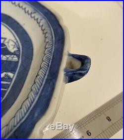 Antique Chinese Export Blue & White Porcelain Canton Warmer Plate