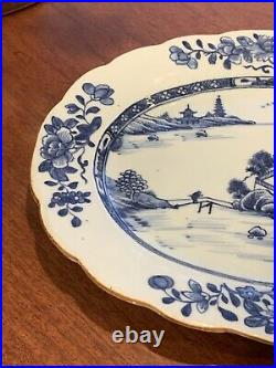Antique Chinese Export Blue White Porcelain Platter Tray