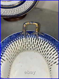 Antique Chinese Export Blue White Reticulated Porcelain Fruit Basket Platter Set
