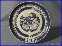 Antique Chinese Export Blue and White Plate 18th century