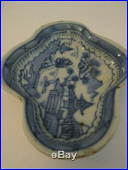 Antique Chinese Export Canton Blue and White Lobed Butter Pat Dish Porcelain